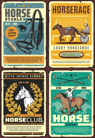 Horse racing, polo and riding club vector posters with race horses, jockey and rider at hippodrome. Equestrian sport racehorse, mallet and equine tack, horseshoe, racetrack and racecourse retro design Illustration
