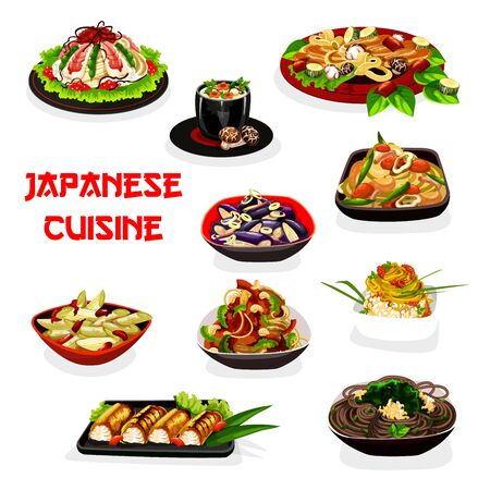 Japanese noodles and rice with seafood and vegetables. Vector shrimp sushi, onion, plum and eggplant salads, mushroom cream soup and baked fish, caviar, seaweed and beans. Asian cuisine design