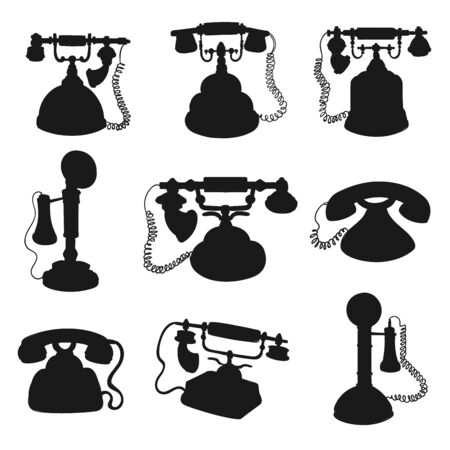 Retro phone and vintage telephone black silhouettes. Old rotary dial and candlestick telephones vector design with phone handsets and wires. Telecommunication technology themes Illustration