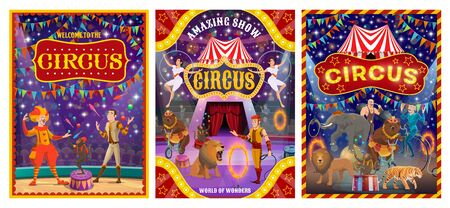 Circus show performers at arena of cirque tent vector design. Acrobats, clown and juggler, trained animals, strongman and tamer, carnival flags and amusement park marquees. Entertainment themes Illusztráció