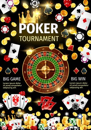 Poker game tournament of gambling sport vector design with 3d casino roulette wheel, dice, chips and playing cards, gold coins, lucky 777 of slot machine and crown, spades, hearts, diamonds and clubs