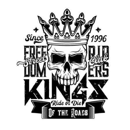 Skull t-shirt print, motorcycle club fashion vector design. Biker skeleton with royal crown, lettering and ribbon banner grunge badge, motorbike riders apparel or motorcyclist clothes