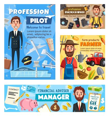 Pilot, farmer, photographer and business manager professions vector design of photography, finance, transportation and agriculture industry occupations. Men with camera, airplane, tractor, money