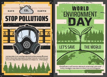 World Environment Day and Stop pollutions retro posters of ecology or nature protection vector design. Earth planet with eco green plant and trees, barrels of toxic waste and gas mask, Earth Day theme Illusztráció