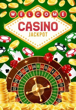 Casino gambling game vector design with roulette, dice and chips, jackpot gold coins and playing cards. 3d welcome poster of online casino, betting club, game of chance and entertainment themes Stock Illustratie