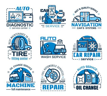 Car repair service and auto spare parts vector icons. Vehicle maintenance and diagnostics, motor oil change and wheel tire fitting, car wash, navigation system setup. Mechanic garage thin line emblems