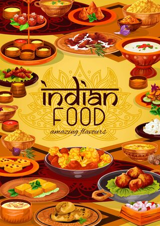 Indian food vector design of rice pilau, chicken meat curry and vegetable stew, seafood, lentil soups, potato samosa and battered shrimps, fried cheese, milk cakes and semolina desserts. Asian cuisine