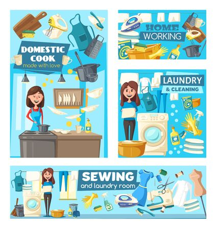 Housework, laundry and house cleaning, cooking, sewing and ironing vector design of household chores and cleaning service. Housewife or maid with washing machine, iron, broom and mop, kitchen utensils