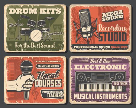 Musical instrument shop, music and sound recording studio vector design. Microphones, drum and saxophone, vinyl records, musical notes and treble clef, synthesizers and jumbo retro posters