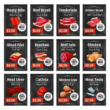 Meat food tags and labels on chalkboard vector design. Beef steak, pork ribs and ham, bacon, lamb and turkey, burger cutlet, liver and tenderloin with barbecue fork and knives. Butcher shop themes