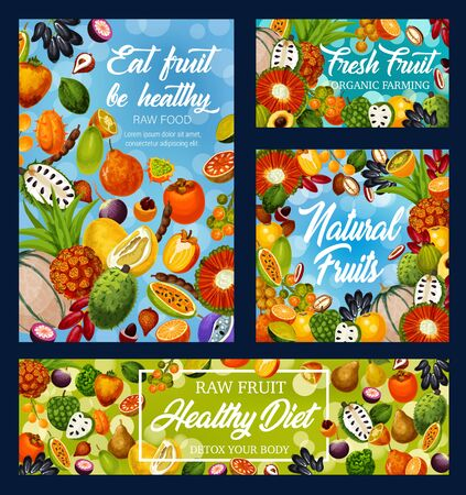 Fruits and exotic berries vector design of fruity detox diet, organic farm food. Frame of oranges, dates and kiwano, cantaloupe melon, persimmon and jackfruit, pu hala, soursop, pomelo and tangerine Illustration