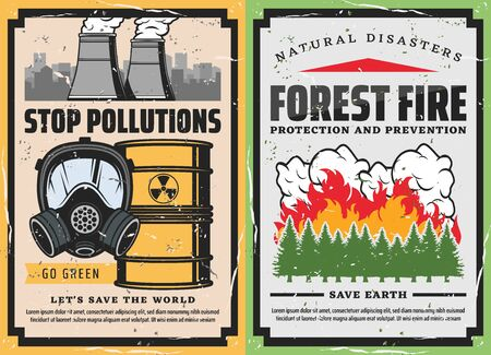 Save the World vector concept of stop pollutions and forest fire prevention retro posters. Burning trees with flame and smokes, gas mask, toxic waste and plant fuming pipes. Ecology, natural disaster