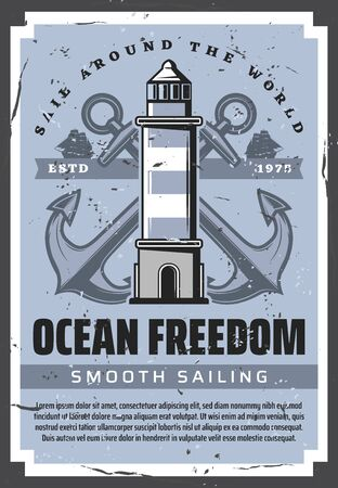 Sea boat anchors, nautical lighthouse and ocean sailing ships with marine ropes vector design. Sailing sport, sea travel and ocean cruise, maritime navigation tower, yacht club and vessel transport