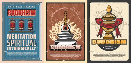 Buddhism religion vector temple stupa and sacred flower of lotus, buddhist symbols of Dharma wheel, Vase of treasure and Tibetan monk prayer wheels. Retro posters of oriental religious symbolism