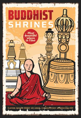 Buddhist with Buddhism religion meditation items vector design. Tibetan monk meditating in ancient temple of Thailand with golden stupas, ritual bell, petle vajra and knife retro poster Illusztráció