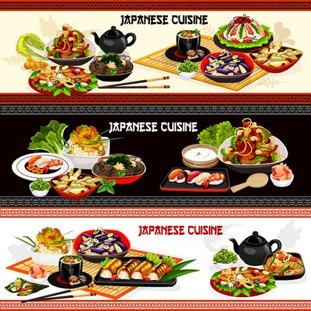 Japanese cuisine vector banners of Asian seafood dishes with noodles, rice, vegetables and fish. Salmon sushi rolls, shrimp and tuna temaki, mushroom soup, eggplant and leek salads, caviar, seaweed