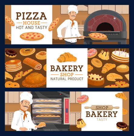 Bakery and pastry shop, pizza house or pizzeria vector banners. Bakers with bread, croissant and cake, cupcake, donut and bagel, muffin, pie and sweet bun, pepperoni, cookie, waffle and pancake Illustration