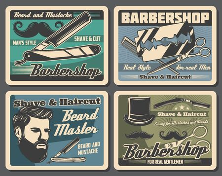 Barbershop vector posters of hair styling, beard and mustache shaving hipster salon design. Barber shop straight razor, haircut scissors and hairdresser comb, bearded man, blades and top hat