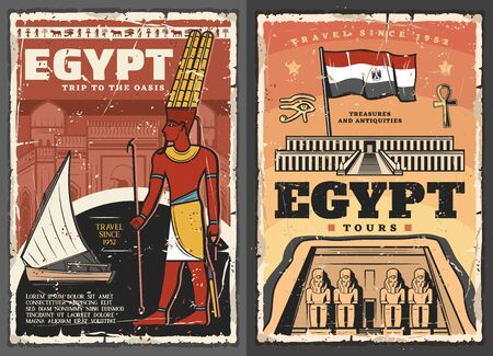 Egypt tour vector design with ancient Egyptian travel landmarks and flag. Temples of pharaoh Ramesses and Djeser-Djeseru, eye of Horus and ankh symbol, Nile river, felucca boat and god Amun posters