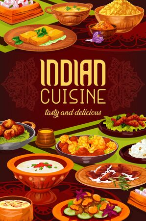 Indian spice rice with meat, seafood and vegetable dishes vector design. Pilau, lentil and shrimp soups, cauliflower casserole, cheese paneer and chicken curry, battered prawns and milk pudding