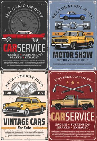Vintage car motor show, auto service, repair and tuning vector design. Retro automobiles with vehicle engine spare parts, pistons and speedometer, wheel wrench and mechanic garage work tools