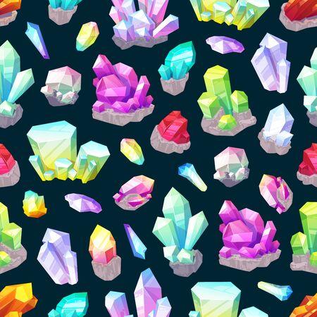 Kristallen, edelstenen en rotsen, mineralen en edelstenen naadloze patroon achtergrond. Vectorkwarts, diamant en amethist, saffier, jade en zout, smaragd, citrien en granaat. Kostbaar edelstenen ontwerp