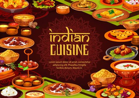 Indian food vector design of rice pilau with chicken curry, lentil seafood soup and milk dessert, paneer cheese, vegetable casserole and potato samosa, battered shrimps, semolina cake. Restaurant menu Illustration
