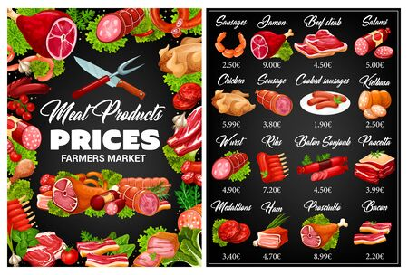Meat and sausages chalkboard menu of butcher shop vector design. Beef steak, pork ribs and ham, salami, bacon and chicken, frankfurter, wurst and burger cutlet on blackboard with salads leaves, herbs