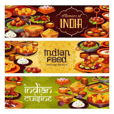 Indian cuisine vector banners with meat curry, rice pilau and vegetable stew, potato samosa, seafood soup and fried shrimps, milk dessert and semolina cake with spices and sauces. Restaurant menu