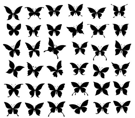 Butterfly black silhouettes of spring insects. Butterflies and moth with wide spread wings vector design, monarch, admiral and ringlet, peacock, archon and pavon, tattoo and nature themes