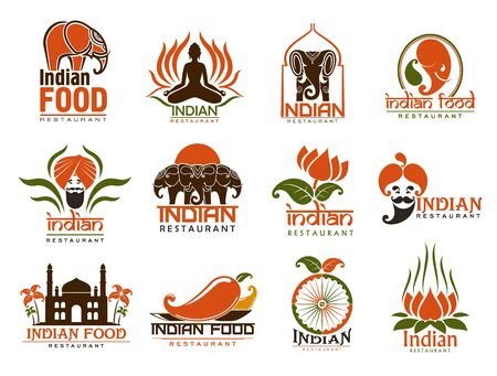Indian food restaurant vector icons with elephants, lotus flower and bearded chef with turban, chilli peppers, Taj Mahal and dharma wheel. Asian cuisine emblems design