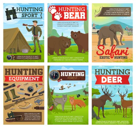 Hunting sport equipment, safari and forest animals vector posters. Hunters, guns and rifles, ducks, bears and elephant, deer, wolf and zebra, knife, binoculars and trap, tourist tent, cartridge belt