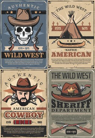 Wild West vector design with American Western cowboy, sheriff and skull, old hat, gun and texas ranger star badge, revolvers and rifles, native american teepee, arrow and boat. Wild West retro posters 向量圖像