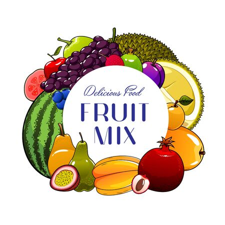 Fruits vector icon with berries of exotic, tropical and garden plants. Apple, mango and grapes, plum, pear and feijoa, apricot, durian and blueberry, watermelon, lychee, pomegranate and carambola Stok Fotoğraf - 133939002