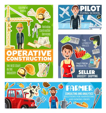 Farmer, pilot, seller and construction engineer occupations vector design, airman, architect, cashier and gardener with work tools. Professions of construction, retail, agriculture and transportation