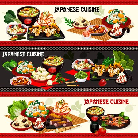 Japanese food vector banners of rice and noodles with shrimps, mushroom, miso beef and ginkgo seeds. Radish, carrot and turnip salads with soy sauce, pork and scallop stews with daikon and leek