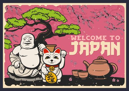 Travel to Japan vector design of Japanese and Asian culture traditions. Sakura with blooming branches and flowers, lucky cat maneki neko and tea ceremony set with teapot and cups, bonsai tree, netsuke