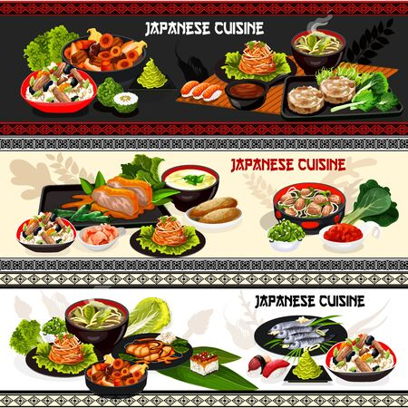 Japanese cuisine seafood sushi, meat and fish dishes, served with vegetables and rice vector banners. Mushroom miso soup, chicken rice and egg noodle, pork in ginger sauce, yam dip and baked potato