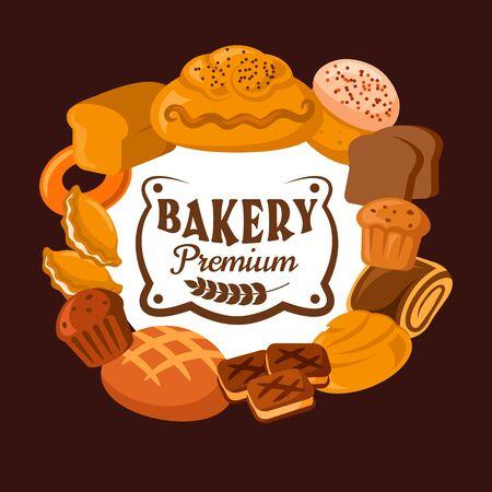 Icona di vettore di panetteria di pane e pasticceria. Pagnotte di grano e segale, cupcake torta e uvetta, focacce di cereali, pane tostato e rotolo alla cannella, biscotti, bagel e torta cornice con testo al centro