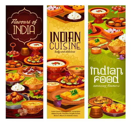 Indian cuisine vector banners of rice, meat and vegetable dishes with milk desserts. Chicken curry, pilau and paneer cheese, potato samosa, naan bread and lentil soup, fried shrimp and pork stew
