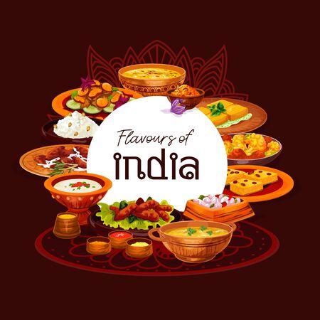 Conception vectorielle de plats thali de cuisine indienne, servis avec du riz aux épices, du curry de viande et une casserole de légumes. Soupes de fruits de mer au safran et aux lentilles, crevettes frites et fromage paneer, gâteau de semoule et pudding au lait