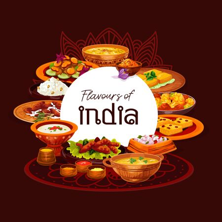 Indian cuisine thali dishes vector design, served with spice rice, meat curry and vegetable casserole. Seafood saffron and lentil soups, fried shrimps and paneer cheese, semolina cake and milk pudding