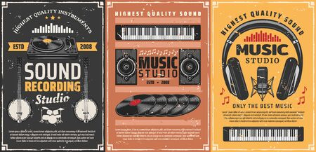 Musical instruments and sound recording studio equipment retro posters with vector musical notes. Vintage microphone, headphones and vinyl records, drum, synthesizers, loudspeakers and record player