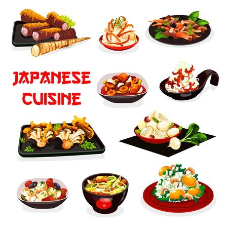 Japanese food vector design of rice dishes with shrimp, ginkgo seeds and vegetables, miso beef, pork daikon and scallop leek stews, radish, carrot and turnip salads with soy sauce. Restaurant menu