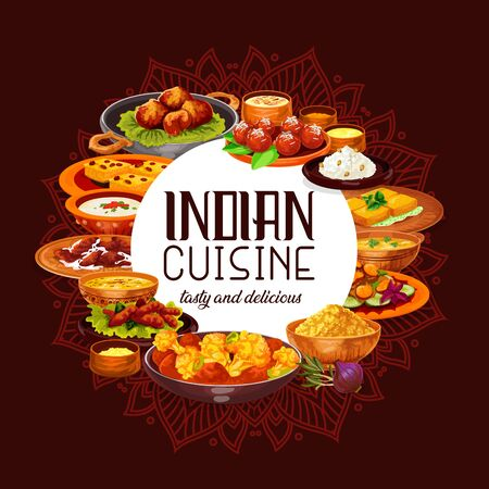 Indian cuisine vector design with spicy rice, seafood and lentil soups, chicken meat curry, vegetable stew and battered shrimps, paneer cheese, semolina cake and fried milk dessert. Restaurant menu