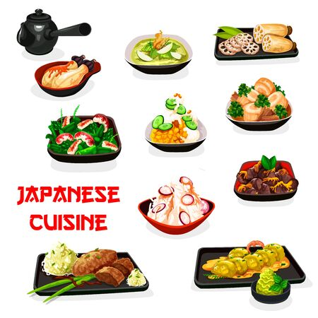 Japanese cuisine vector dishes of seafood, vegetables and meat. Chicken giblets and eggplant stews with miso and sesame sauce, pork and lotus root salads with shrimp, cabbage and asparagus. Asian food Ilustrace