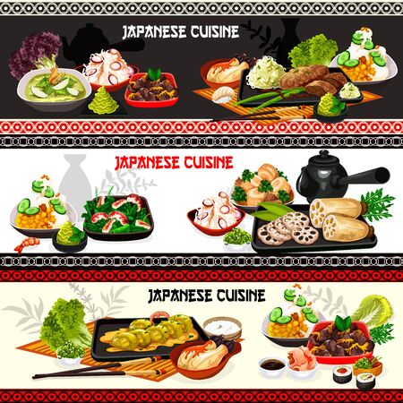 Japanese food vector banners of seafood dishes with vegetables, fish and meat. Salmon sushi rolls, chicken and eggplant stews, shrimp asparagus, cabbage pork and lotus root salads with miso sauce