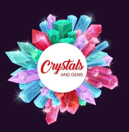 Cristalli di pietre preziose e rocce minerali disegno vettoriale con gemme preziose di diamante, quarzo rosa e zaffiro blu. Gioielli e pietre magiche cornice di ametista, topazio e opale, vetro, smeraldo, citrino Vettoriali