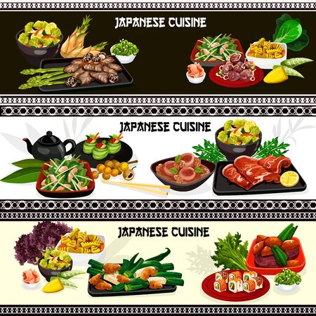 Japanese meat, seafood and vegetable dishes with vector sushi rolls, kobe beef and clam salad, chicken and pork stew with miso sauce, daikon, bamboo sprouts and cucumber. Asian restaurant banners