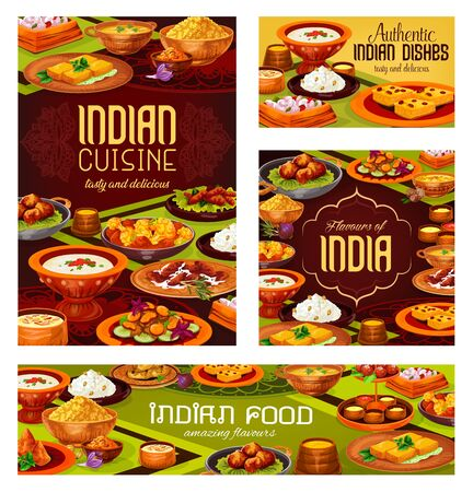 Indian food vector design of Asian restaurant banners. Meat, vegetable and seafood dishes with dessert, rice, chicken curry and cheese paneer, shrimp and lentil soups, semolina cake, milk pudding Illustration